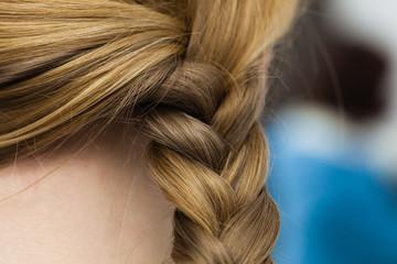 Closeup of woman blonde braided hair