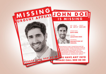 Missing Person Flyer Layout with Red Accents