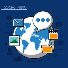 social media networks world with folder text photos video camera vector illustration