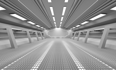 Sci fi door background clean space 3D rendering
