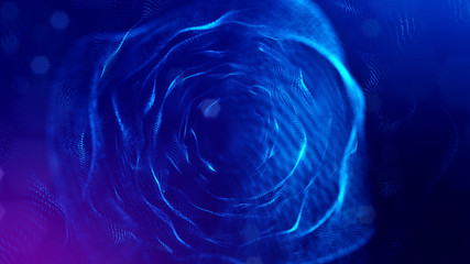 science fiction background of glowing particles with depth of field and bokeh. Particles form line and abstract surface grid. 3d rendering V43 blue spheres