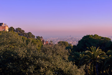 Beautiful high angle view of the Barcelona from Park Guell during sunset