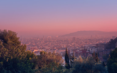 Beautiful high angle view of the Barcelona from Park Guell during sunset with pink sky