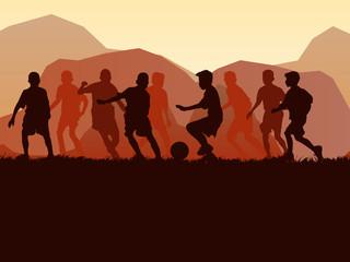 silhouette soccer kid nature scene