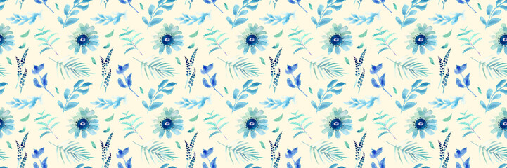 Spring flower seamless pattern. Fresh spring watercolor floral seamless pattern for wedding cards, seamless pattern background of websites and mobile app and organic food sign and banners.