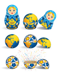 Matryoshka in blue color with a planet inside and inside the world there is soccer ball and inside the ball there is explosion of confetti. Matryoshka doll also known as a Russian nesting doll