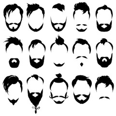 Set of black silhouette men's faces with different hairstyles, beards and mustaches. collection of hipster images. Vector illustration.