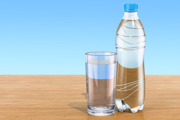 Plastic water bottle with glass of water on the wooden table. 3D rendering