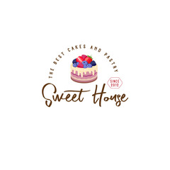 Sweet house logo. Cakes emblem. Bakery and cafe logo. A beautiful cake with strawberry, blueberry, dewberry, raspberry. Sign for bakery.