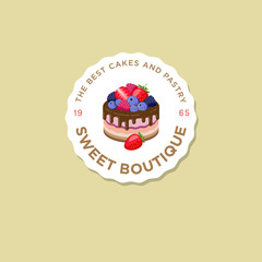 Sweet house logo. Cakes emblem. Bakery and cafe logo. A beautiful cake with strawberry, blueberry, dewberry, raspberry, sign.
