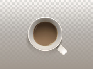 Vector 3d realistic cup of coffee, top view, isolated on translucent background. White mug with hot, strong drink for breakfast, espresso, cappuccino or latte. Mockup for your creative ideas