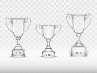 Vector 3d realistic cup, transparent glass trophy for winner of competition, championship. Shiny crystal goblet for success, victory. Reward, prize isolated on background. Achievement design