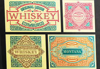 4 Teal and Red Vintage-Style Label Layouts