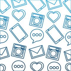 pattern social media heart camera email mobile vector illustration degraded color blue