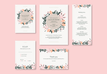 Wedding Invitation Set with Pink and Green Stylized Flowers