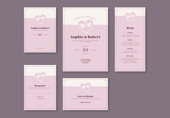 Wedding Invitation Set with Two Doves in Pink Hearts