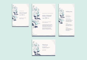 Floral Wedding Invitation Set with Light Blue and Gray Accents