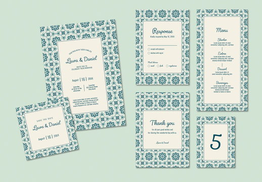 Wedding Invitation Set with Blue-Green Patterned Background