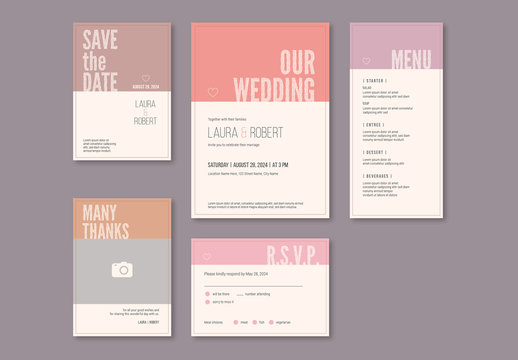 Wedding Invitation Set with Pastel Headers