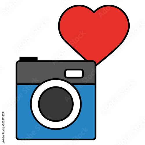 Photo Camera Love Heart Social Media Vector Illustration Stockfotos