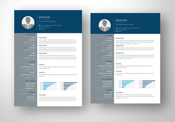 Resume Layout with Blue and Gray Accents