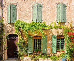 Wall Mural - Rustic house front with green wooden shuttered windows and leafy facade, Provence, France