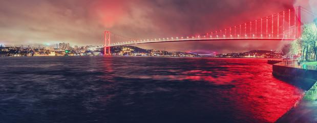 Night scene of Istanbul Bosphorus Bridge. Landmark.