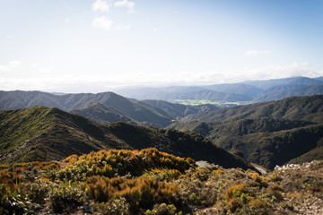 Landscape view overlooking mountains in New Zealand.