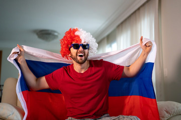 Russian fan celebrating at home. Go Russia!
