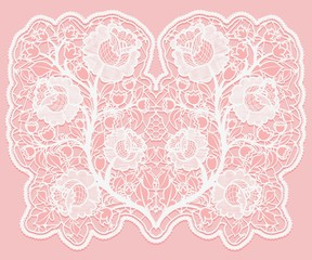 Lacy floral bouquet. White lace flowers and a grid on a pink background.