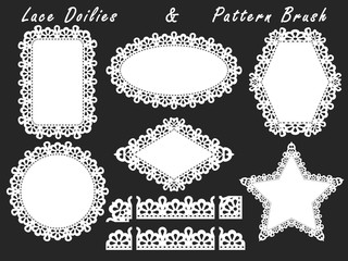 A set of lacy napkins of different shapes and pattern brush.