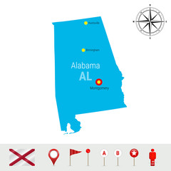 Alabama Vector Map Isolated on White Background. High Detailed Silhouette of Alabama State. Official Flag of Alabama