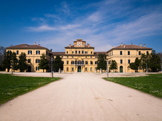 """Renaissance style facade of the """"garden palace"""" inside the ducal park of Parma, Italy."""
