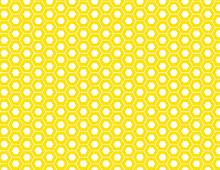 Honeycomb seamless pattern in yellow gold. Vector background illustration. EPS file has global colors for easy color changes.