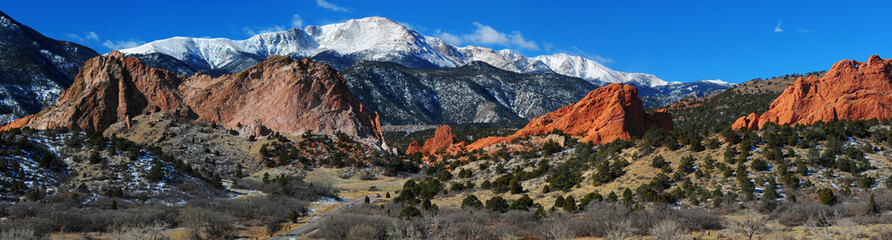 Pikes Peak Soaring over the Garden of the Gods Panorama