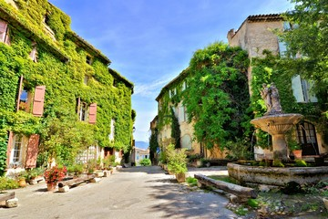 Fototapete - Leafy town square with fountain in a beautiful village of Saignon, Provence, France