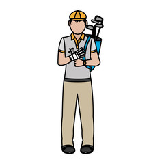 color boy golfer with bats inside bag and glove