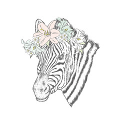 A zebra in a wreath of flowers. Vector illustration.