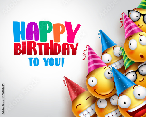 Birthday Smileys Vector Background Design With Yellow Funny And Happy Emoticons Wearing Colorful Party Hats