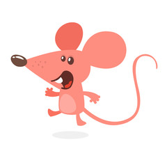 Cute cartoon mouse dancing. Vector illustration isolated