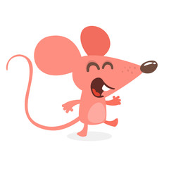 Cute cartoon mouse dancing and laughing. Vector illustration isolated