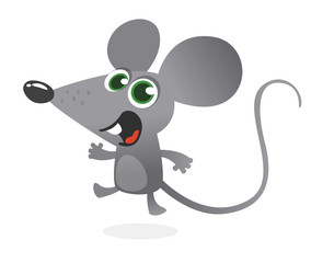 Cartoon gray mouse talking. Vector illustration isolated