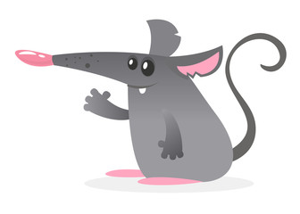 Fat cartoon mouse. Vector illustration isolated