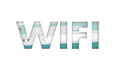 Wifi Internet Access Free Online Point Service Word 3d Illustration