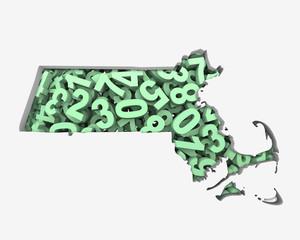 Massachusetts MA Map Numbers Math Figures Economy 3d Illustration