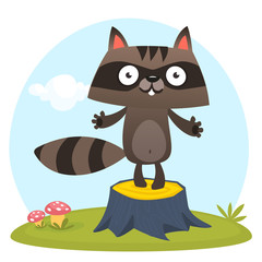 Cute cartoon  raccoon character standing on a tree stump in the meadow. Vector illustration