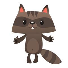 Funny cartoon raccoon. Vector illustration of small raccoon character isolated