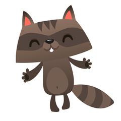 Happy cartoon raccoon jumping. Vector illustration of small raccoon character isolated