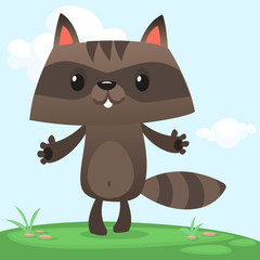 Cartoon raccoon character standing on meadow background with sky and clouds. Vector illustration
