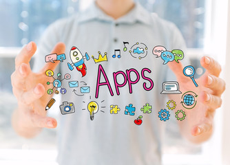 Apps with young man holding his hands